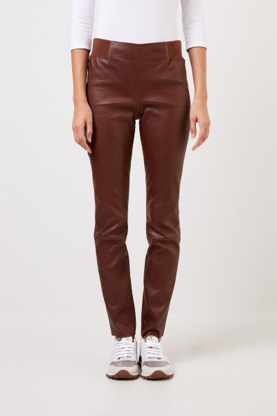 Brunello Cucinelli Classic leather trousers brown