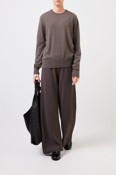 Cashmere-Pullover 'Olive' mit Rippstrickdetail Grau-Grün