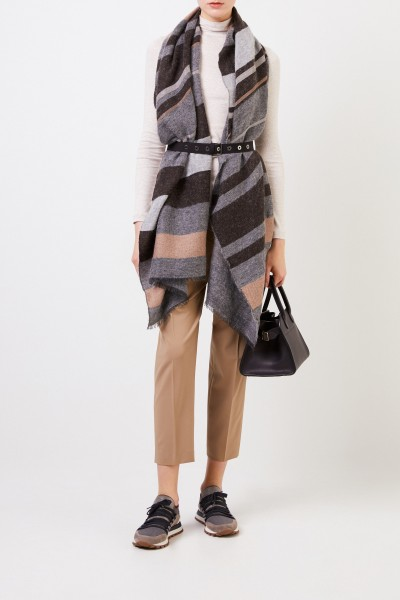 Cashmere scarf with belt Grey/Beige
