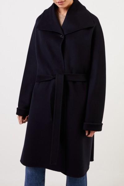 Aspesi Wool cashmere coat with belt Navy Blue