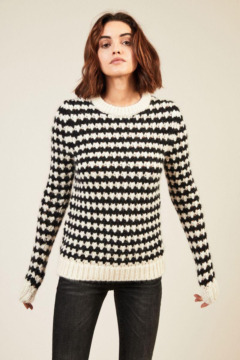 Woll-Alpaca-Pullover Schwarz/Weiß