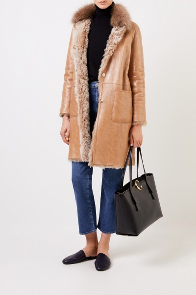 Lined lambskin coat with fox collar Light Brown