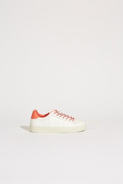 Leder-Sneaker Weiß/Koralle