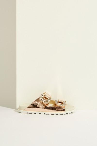 Leather Sandal 'Slidy Viv' with Buckle Rosé