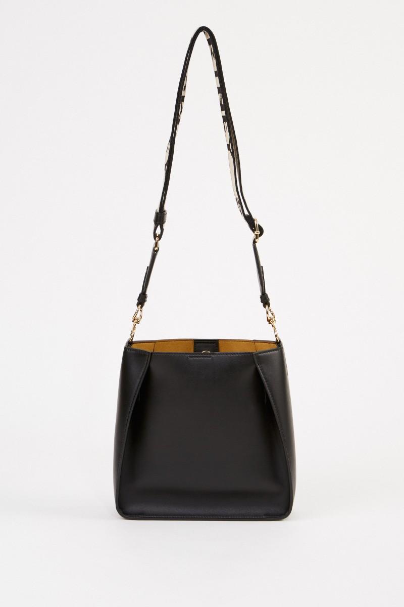 Stella McCartney Mini shoulder bag with logo strap Black
