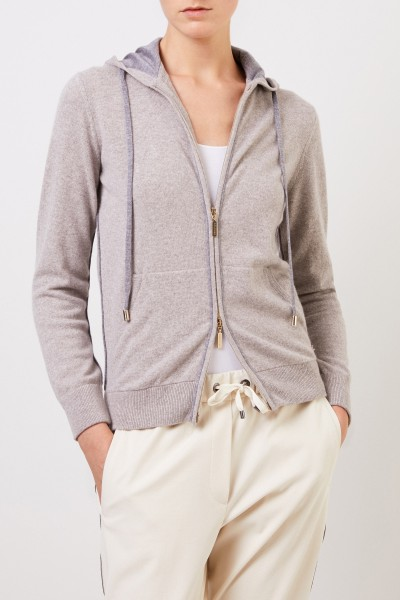 Colombo Cashmere jacket with hood Grey