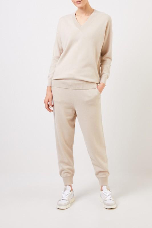Colombo Cashmere-Pullover mit V-Neck Beige