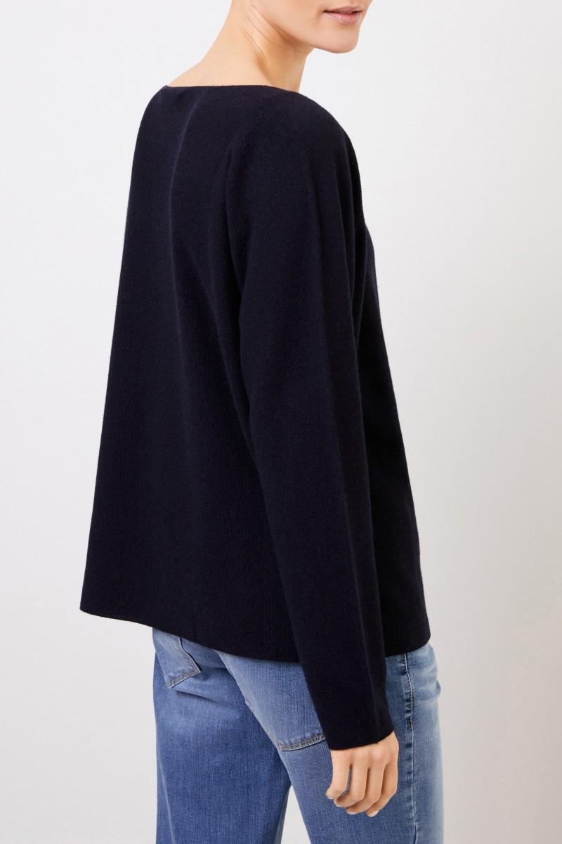 Woll-Seiden-Pullover mit Struktur Marineblau