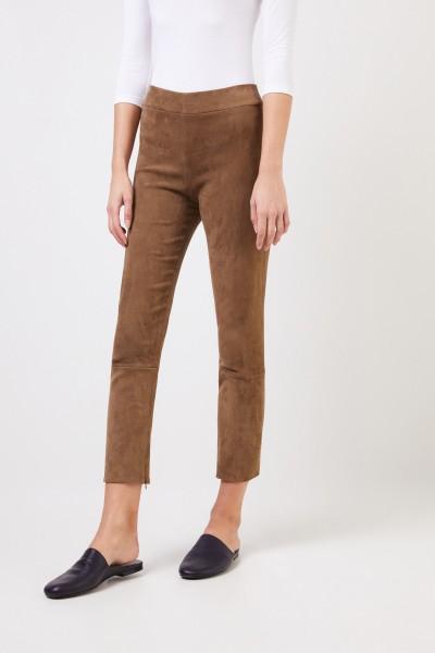 The Row Veloursleder Leggings 'Mino Pant' Braun
