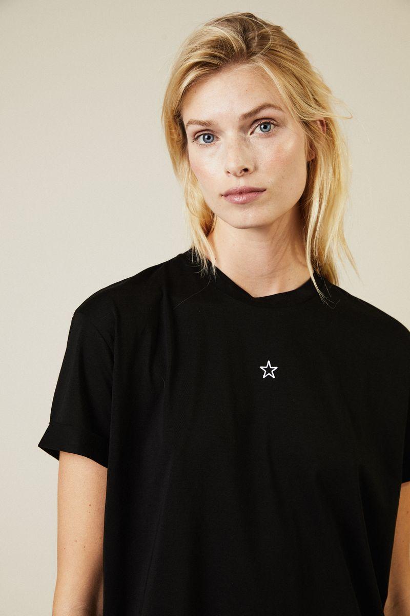T-Shirt mit Stern-Stickerei Schwarz