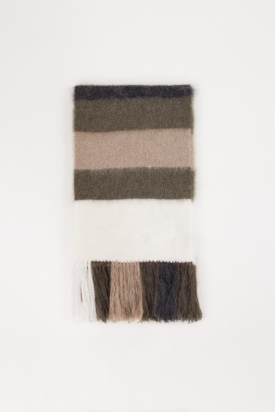 Striped mohair scarf with fringes Multi