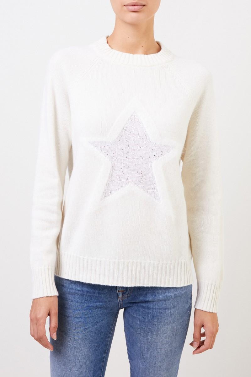 Woll-Pullover mit Sterndetail Crème