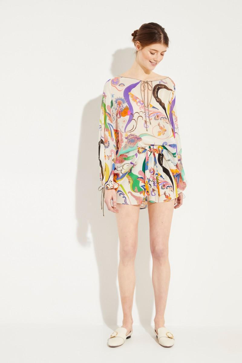 Seiden-Shorts mit Print Weiß/Multi