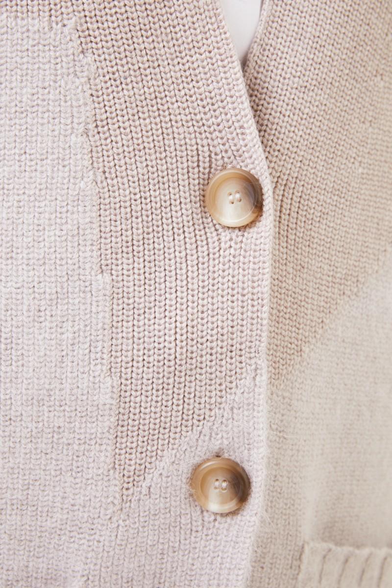 Langer Woll-Angora-Cardigan Beige