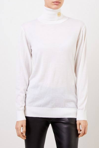 Loewe Cashmere turtleneck pullover with logo Ecru/Gold