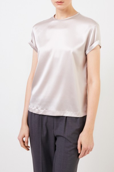 Brunello Cucinelli Silk top with pearl decoration Taupe