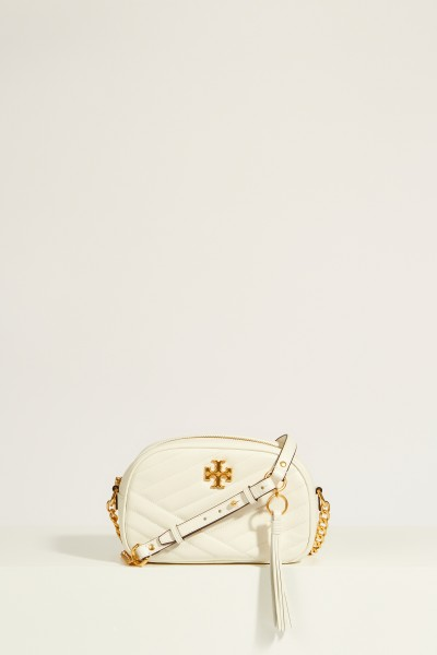 Leather shoulder bag 'Kira Camera' White