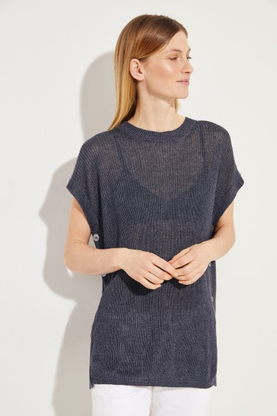 Leinen-Pullover 'Sierra' mit Knopfdetails Marineblau