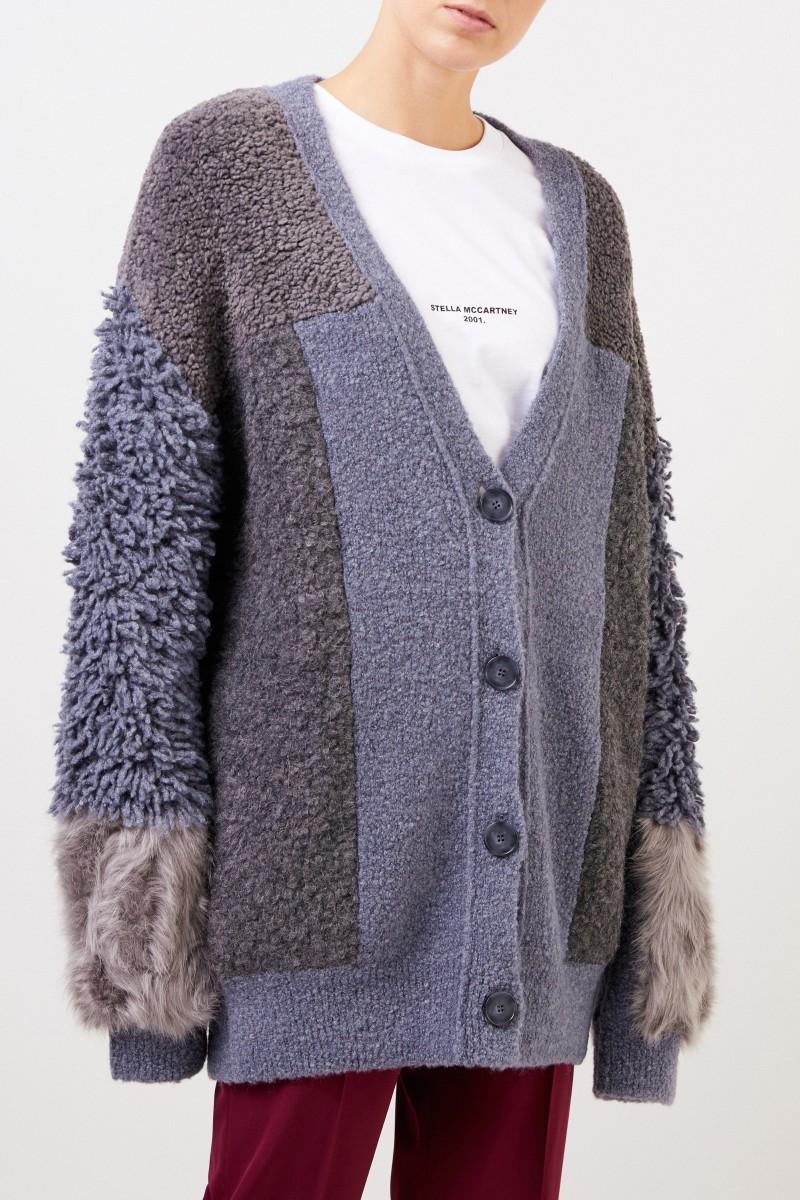 Stella McCartney Woll-Alpaka-Cardigan mit Patchwork Grau/Taubenblau