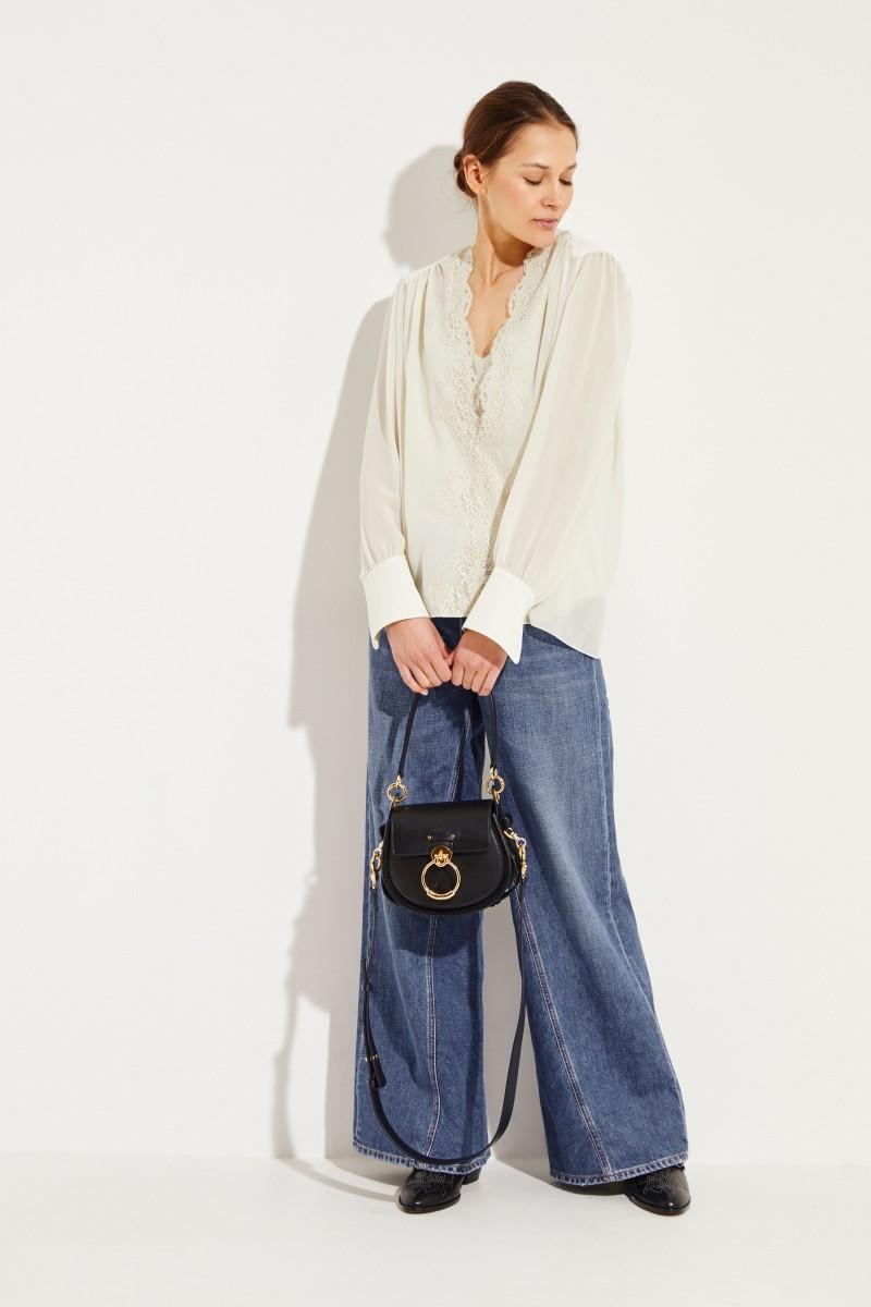 Seiden-Bluse mit Lace-Detail Light Grey