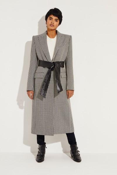 Woll-Mantel mit Hahnentrittmuster Schwarz/Weiß