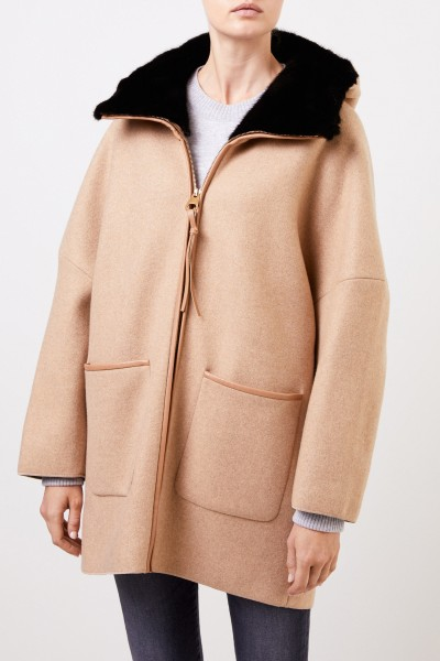 Agnona Cashmere coat with mink Camel/Black