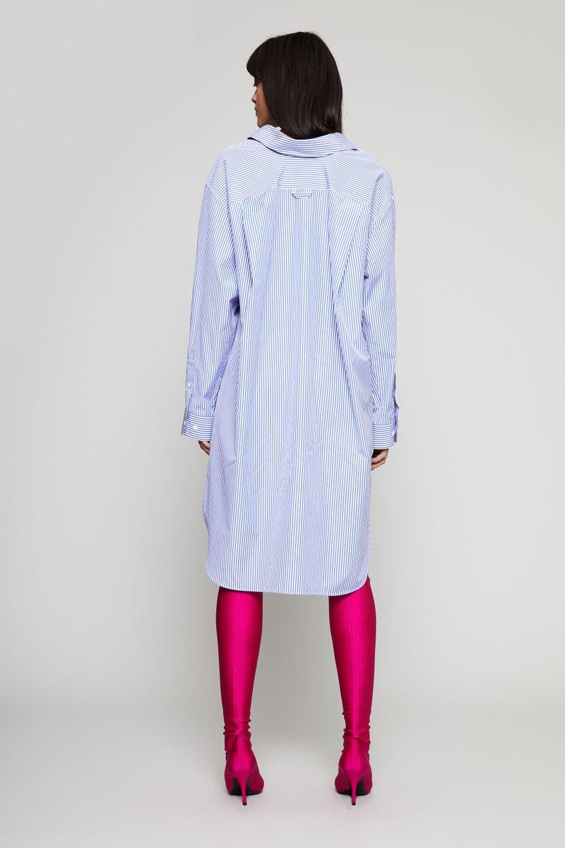 Oversize Hemdblusenkleid Blau/Weiß