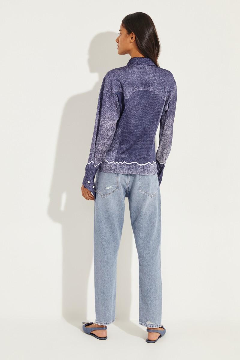 Bluse mit Manschetten Details Blau