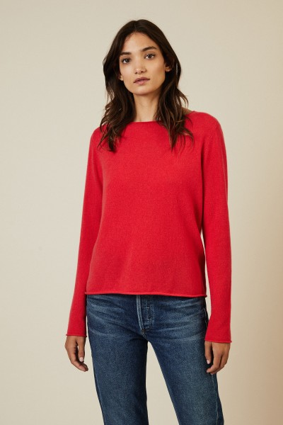 Rundhals-Cashmere-Pullover Pink