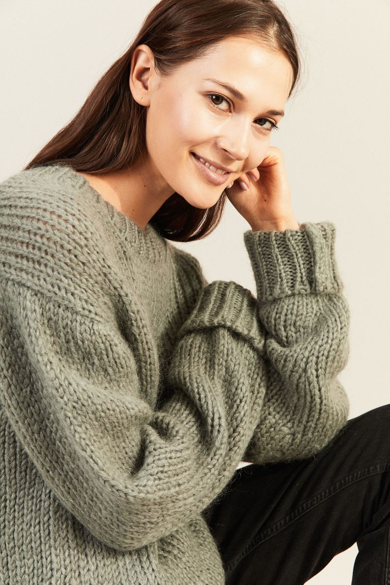 Mohair-Woll-Pullover Salbei