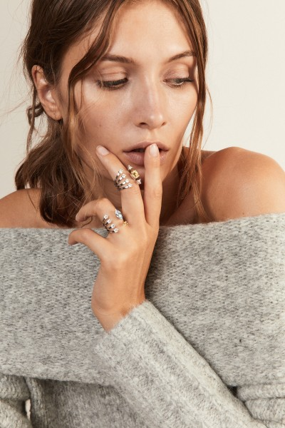 Delfina Delettrez Ring 'Today Tomorrow Dots' Weißgold/Aquamarin