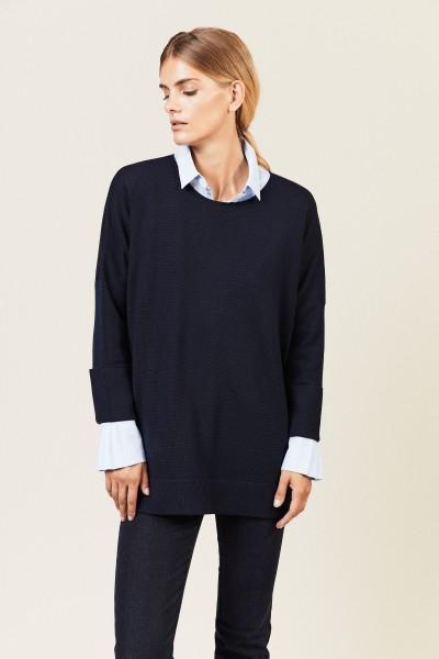 Pullover mit Saumumschlägen Blau