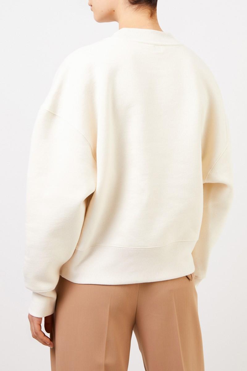 Ami Sweatshirt mit Stickerei Ecru