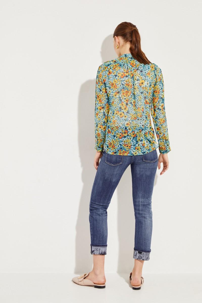 Seiden-Bluse 'Ethel' mit floralem Print Blau/Multi