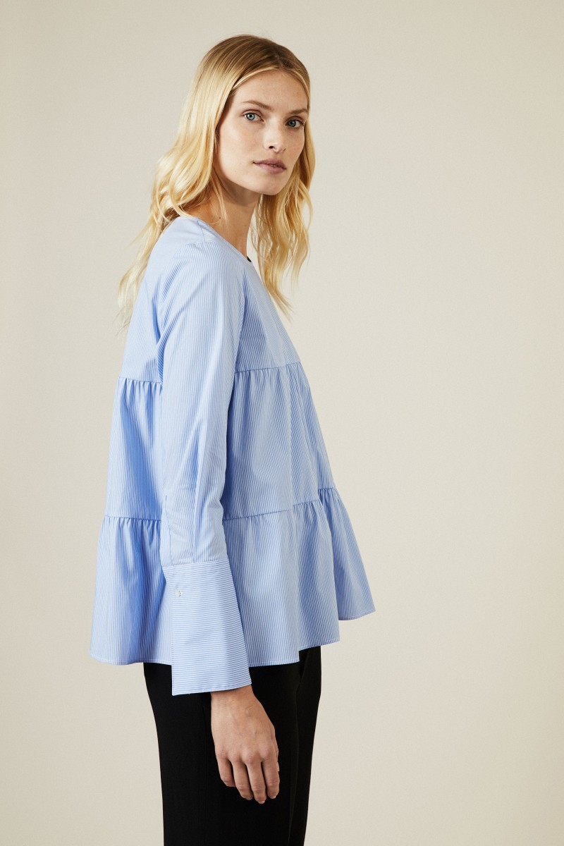 Gestreifte Baumwoll-Bluse Hellblau