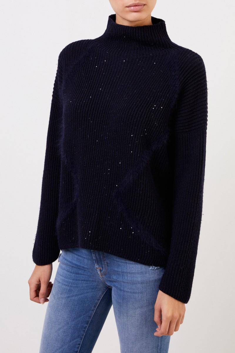 Woll-Pullover mit Pailletten Marineblau