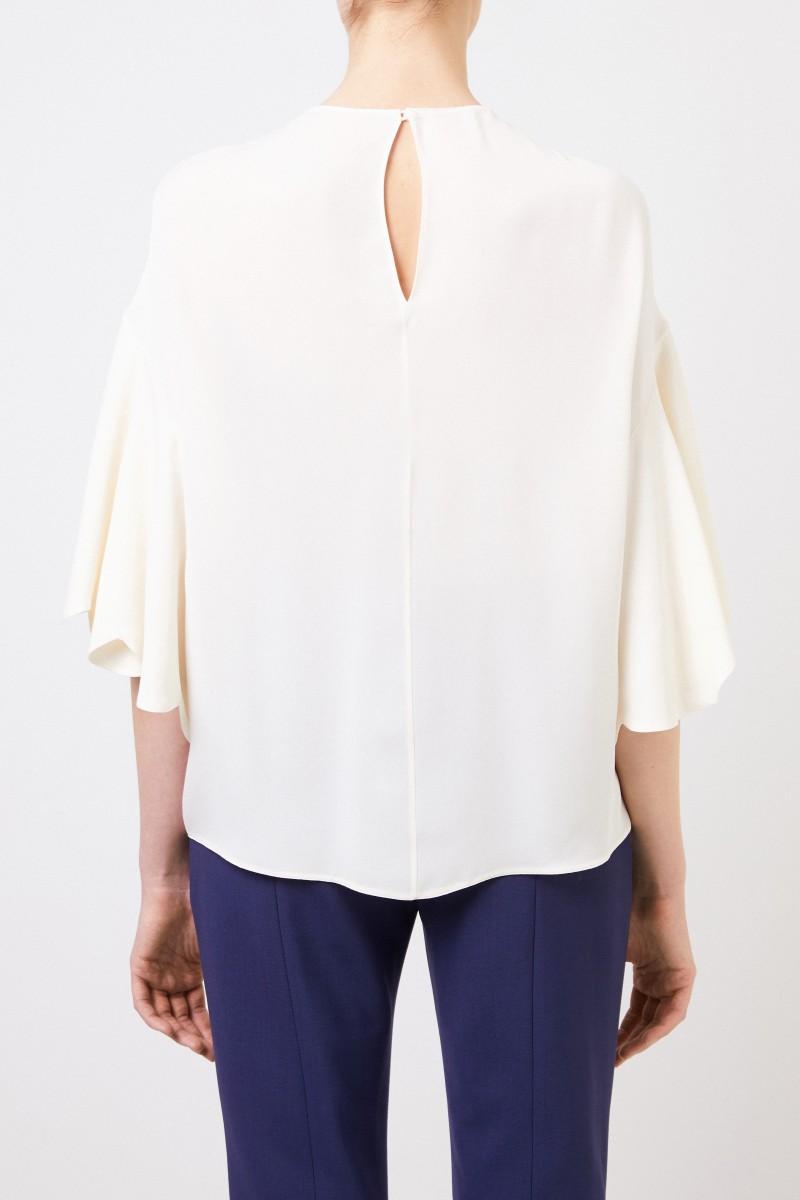 Valentino Seiden-Bluse mit weiten Ärmeln Crème