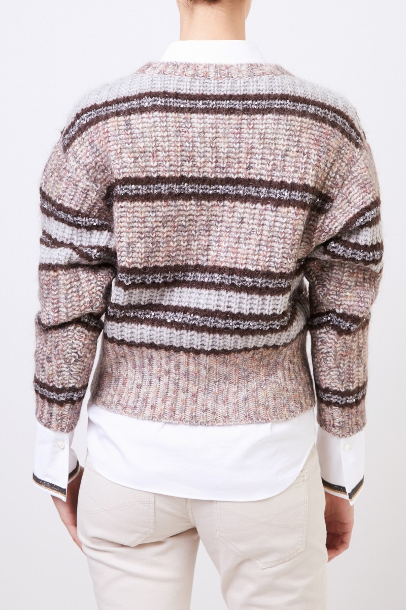 Brunello Cucinelli Woll-Cashmere-Pullover mit Paillettendetails Beige/Multi