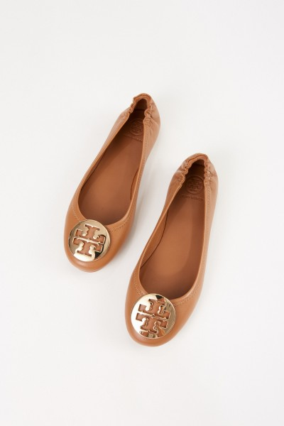 Tory Burch Leder-Ballerina 'Minnie Travel Ballet with Metal' Cognac