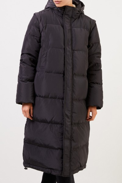 Ganni Long down coat with hood Anthracite