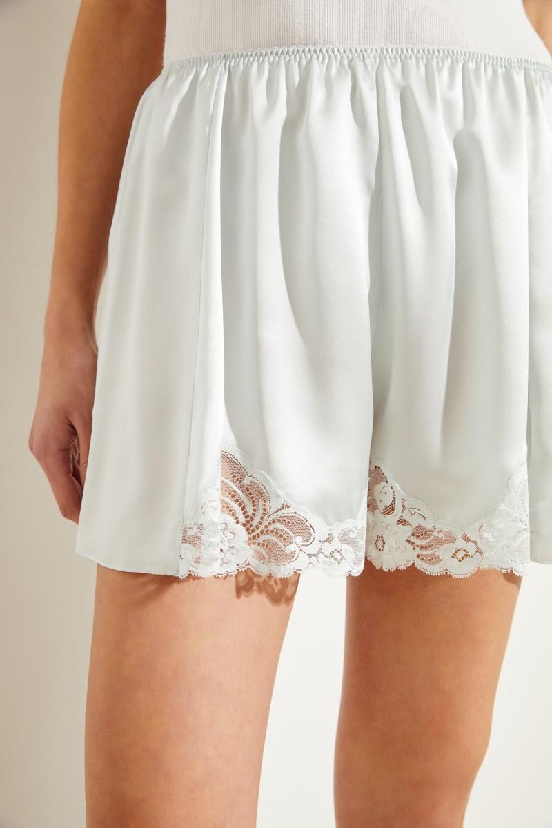 Seiden-Shorts mit Spitze Mint