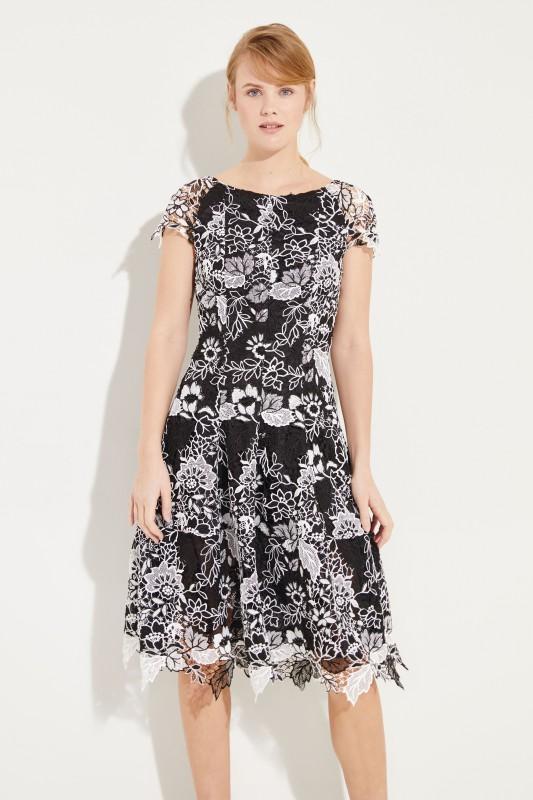 Talbot Runhof Kleid mit floraler Spitze Schwarz/Weiß