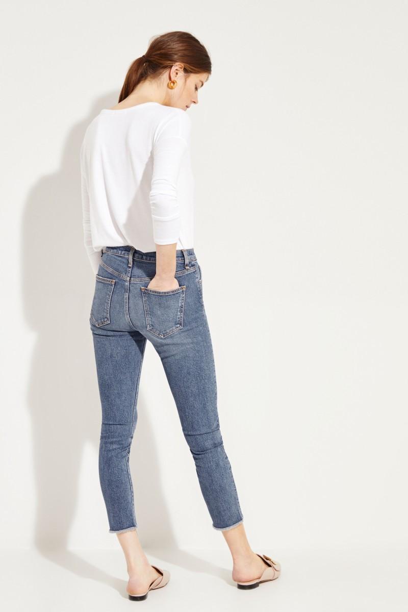Skinny Jeans 'Faye' mit Knöpfen Blau
