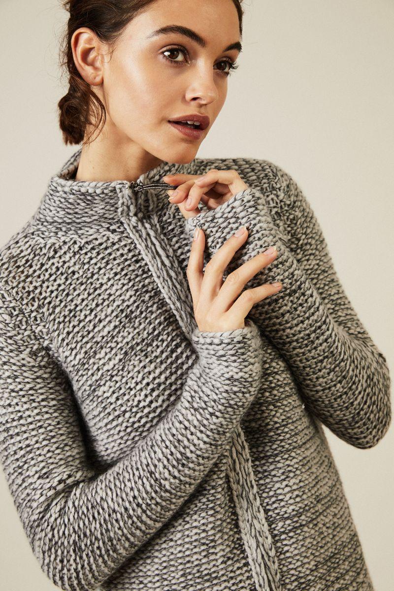 Cashmere-Cardigan mit Reißverschlussdetails Grau
