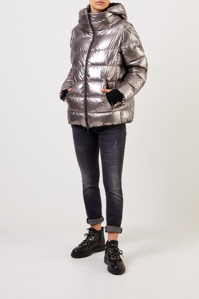 Herno Short down jacket with hood Silver