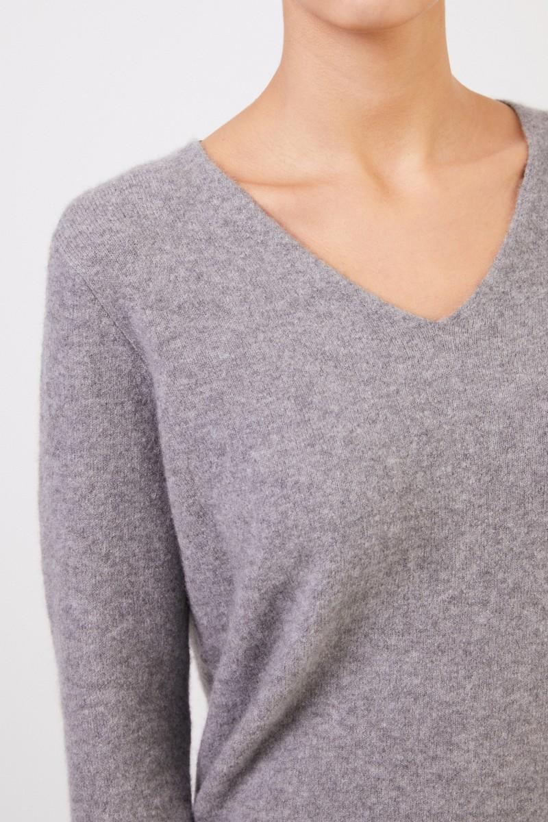 Allude Cashmere-Pullover mit V-Neck Grau
