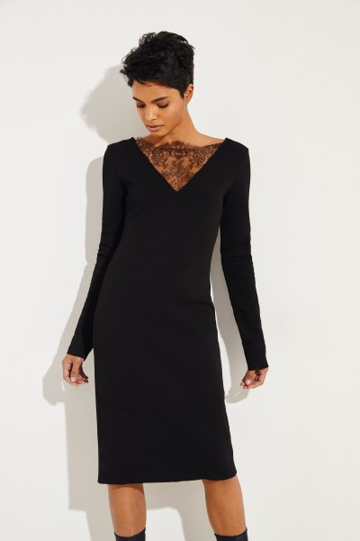 Knitted dress with lace inserts Black