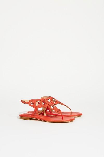 Leder-Sandale mit Verzierungen Rot