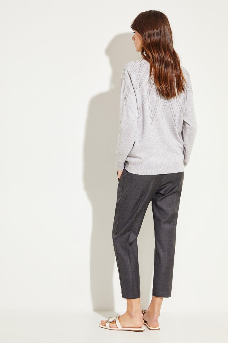 Brunello Cucinelli Cashmere-Pullover mit Perlenverzierung Grau