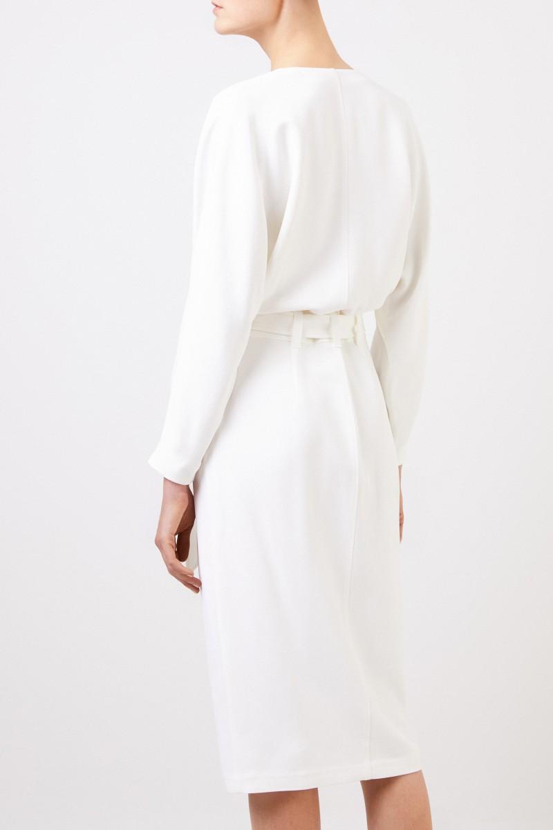Brunello Cucinelli Wickelkleid mit Bindedetail Weiß